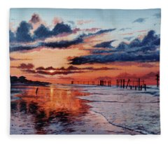 Dawn On Crystal Beach Fleece Blanket