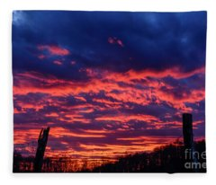 Dawn On The Farm Fleece Blanket