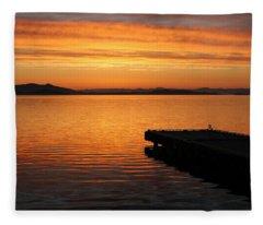 Dawn On The Water At Dusavik Fleece Blanket