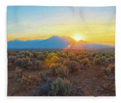 Dawn Over Magic Taos Mountain Fleece Blanket
