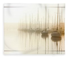Dawn Reflections - Yachts At Anchor On The River Fleece Blanket