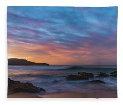 Dawn Seascape With Rocks And Clouds Fleece Blanket