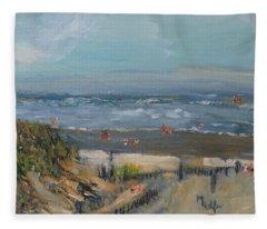 Day At A Dennis Beach Fleece Blanket