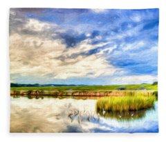 Day At The Marsh Fleece Blanket