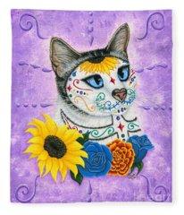 Day Of The Dead Cat Sunflowers - Sugar Skull Cat Fleece Blanket