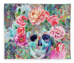 Day Of The Dead Watercolor Fleece Blanket