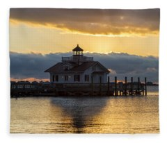 Daybreak Over Roanoke Marshes Lighthouse Fleece Blanket