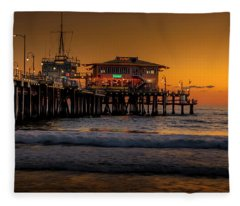 Daylight Turns Golden On The Pier Fleece Blanket