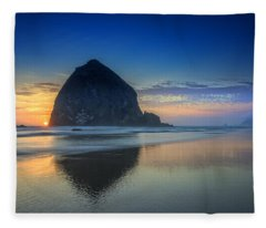 Day's End In Cannon Beach Fleece Blanket