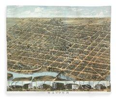 Dayton, Ohio 1870 Fleece Blanket