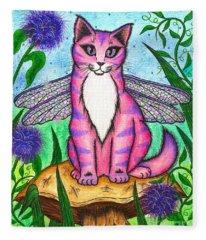 Dea Dragonfly Fairy Cat Fleece Blanket