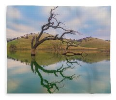 Dead Tree Reflection Fleece Blanket