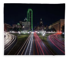 Fleece Blanket featuring the photograph Dealey Plaza Dallas At Night by Todd Aaron