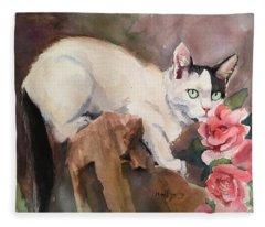Deano In The Roses Fleece Blanket