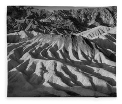 Death Valley Erosion B W Fleece Blanket