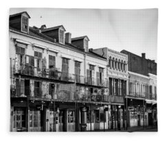 Decatur Street New Orleans In Black And White Fleece Blanket