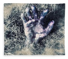 Decaying Zombie Hand Emerging From Ground Fleece Blanket