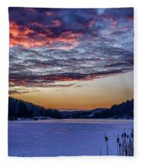 December Dawn On The Lake Fleece Blanket