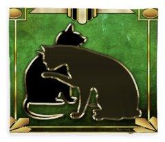 Deco Cats - Emerald Fleece Blanket