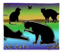 Deco Cats Group Fleece Blanket