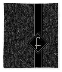 Deco Jazz Swing Monogram ...letter F Fleece Blanket