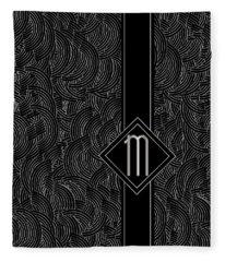Deco Jazz Swing Monogram ...letter M Fleece Blanket