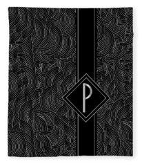 Deco Jazz Swing Monogram ...letter P Fleece Blanket