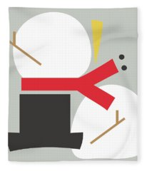 Deconstructed Snowman- Modern Art By Linda Woods Fleece Blanket