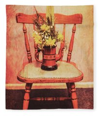 Decorated Flower Bunch On Old Wooden Chair Fleece Blanket