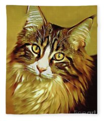 Decorative Digital Painting Maine Coon A71518 Fleece Blanket