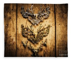 Decorative Moose Emblems Fleece Blanket
