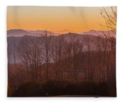 Deep Orange Sunrise Fleece Blanket