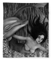 Deep Sea Mermaid - Black And White Fantasy Art Fleece Blanket