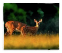 Deer And Mother Fleece Blanket