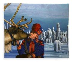 Deer Friends Of Finland Fleece Blanket