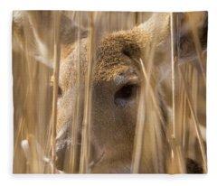 Deer Hiding In The Marsh Fleece Blanket