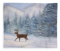 Deer In The Snow Fleece Blanket