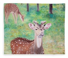 Deer In Woods Fleece Blanket
