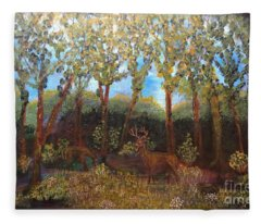 Deer In Woods Fleece Blanket