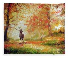 Deer On The Wooden Path Fleece Blanket
