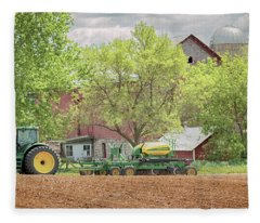 Deere On The Farm Fleece Blanket