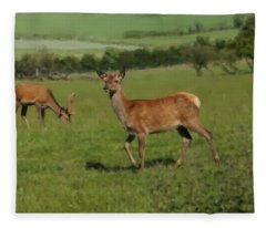 Deers On A Hill Pasture. Fleece Blanket