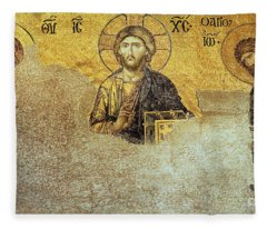 Deesis Mosaic Hagia Sophia-christ Pantocrator-judgement Day Fleece Blanket