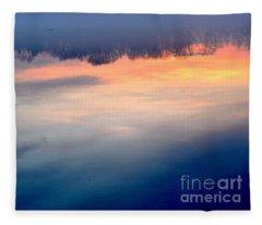 Delaware River Abstract Reflections Foggy Sunrise Nature Art Fleece Blanket