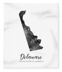 Delaware State Map Art - Grunge Silhouette Fleece Blanket