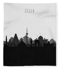 Delhi Cityscape Art Fleece Blanket