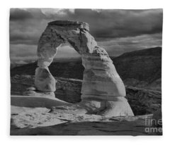 Delicate Arch Black And White Sunset Shadow Fleece Blanket
