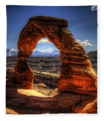 Delicate Arch Framing La Sal Mountains Fleece Blanket