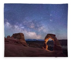 Delicate Arch Under The Starry Sky In Arches National Park Panorama  Fleece Blanket