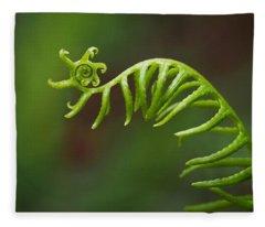 Delicate Fern Frond Spiral Fleece Blanket